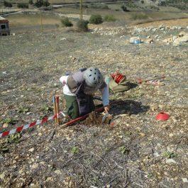 Deminerka počasi in previdno čisti zemljo okoli najdenega ostanka bombe.